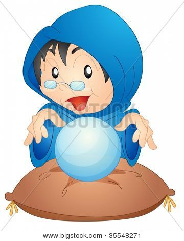 illustration of a woman with magic globe on a white