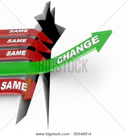 One arrow marked Change succeeds by adapting to changing conditions while several others with the word Same fall into the abyss of failure