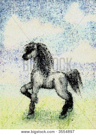 Horse In Field In The Manner Of Mosaics