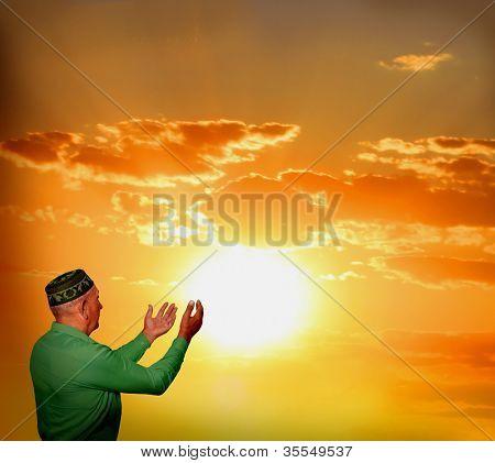 Muslim man reading Namaz