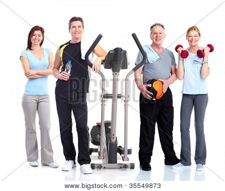 Healthy people group. Gym and fitness. Isolated over white background.