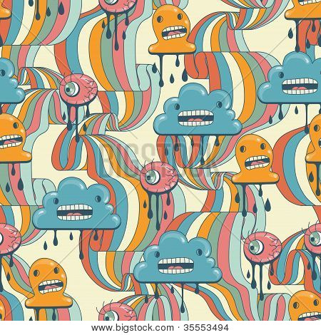 Monsters modern seamless pattern in retro style.
