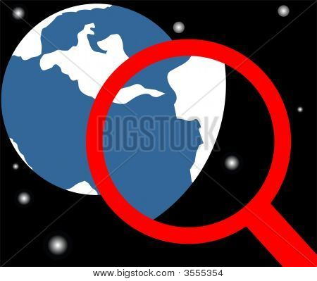 Globe And Magnifier