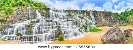 Beautiful Pongour waterfall in Vietnam. Panorama