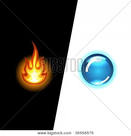 Hot and cold. Double background. Vector illustration.