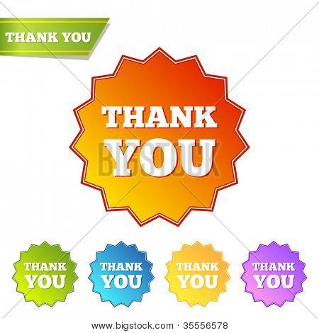 Thank you. Set of isolated labels. Vector illustration.