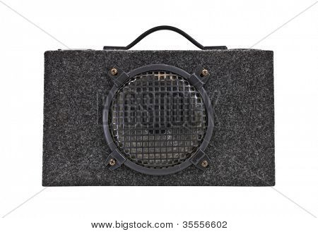 Vintage car audio boom box woofer isolated with clipping path.