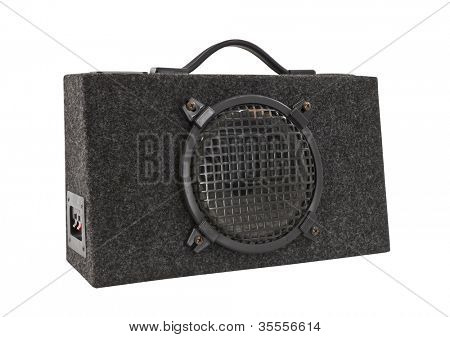 Old car audio boom box woofer isolated with clipping path.