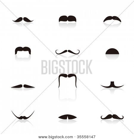Set of mustaches isolated on white background. Vector illustration