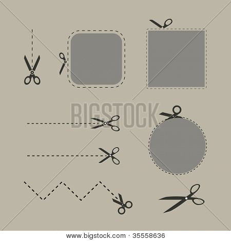 Blank advertising coupons with scissors