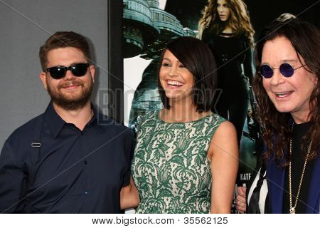 "LOS ANGELES - AUG 1:  Jack Osbourne, his wife, and Ozzy Osbourne arrives at the ""Total Recall"" Premiere at Graumans Chinese Theater on August 1, 2012 in Los Angeles, CA"
