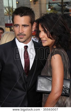 "LOS ANGELES - AUG 1:  Colin Farrell, sister arrives at the ""Total Recall"" Premiere at Graumans Chinese Theater on August 1, 2012 in Los Angeles, CA"