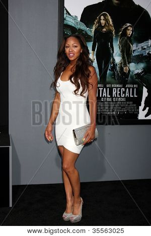 "LOS ANGELES - AUG 1:  Megan Good arrives at the ""Total Recall"" Premiere at Graumans Chinese Theater on August 1, 2012 in Los Angeles, CA"