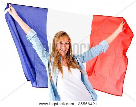 French woman holding the flag - isolated over a white background