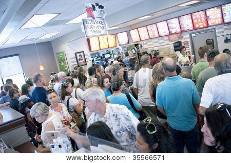 PENSACOLA, FL - AUGUST 1, 2012: Patrons shop at Chick-Fil-A restaurant in Pensacola, FL, on August 1, 2012 on national Day of Support following backlash from the owner supporting traditional marriage.