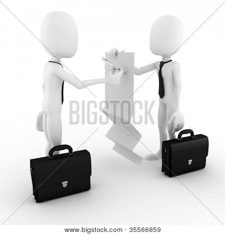 3d man business man signing on a blank document