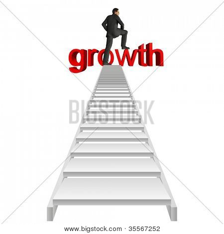 High resolution concept or conceptual businessman in top of white stair over red 3d growth text isolated on white background,for business,man,money, progress,achievemen t,wealth,market or improvement