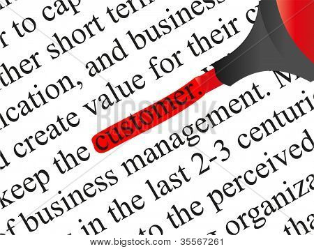 High resolution concept or conceptual abstract black text isolated on white paper background with red marker as a metaphor for customer,target,marketing,client,service,strategy,business or consumer