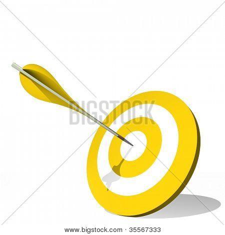 hohe Auflösung-Konzept oder konzeptionelle gelb Ziel Dartscheibe mit einem Pfeil im Zentrum isoliert auf w