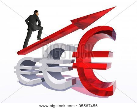 Conceito ou símbolo de euro conceitual 3D vidro vermelho com seta apontando para cima isolado no fundo branco w