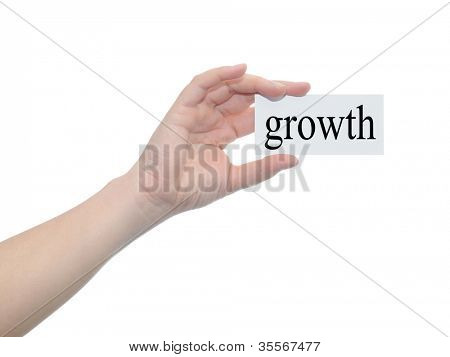 Concept or conceptual human or man hand isolated on white background holding a paper banner with a black text as metaphor for business,management,marketing,vision,advice,goal,success or growth design