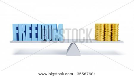 freedom and money, business concept, 3d render