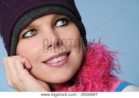 Portrait Of Winter Girl Smiling