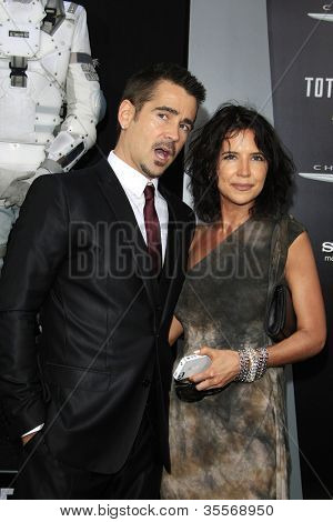 LOS ANGELES - AUG 1: Colin Farrell, sister Claudine Farrell at the Los Angeles Premiere of 'Total Recall' at Grauman's Chinese Theater on August 1, 2012 in Los Angeles, California