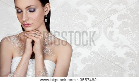 Elegant bride on vintage background. Banner, space for text.