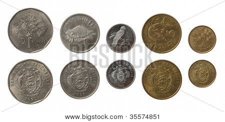 Set of Seychellois Rupee coins isolated on white