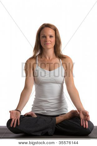 Mid-Age 40s Flexible Female Practicing Yoga on Isolated White background