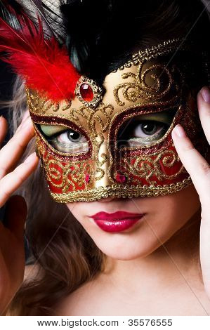 beautiful woman with mask