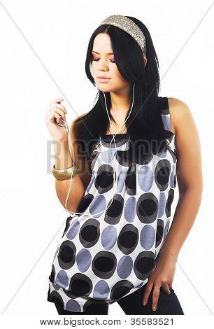 beautiful brunette woman and music