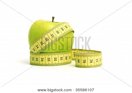 dieting. apple and tape