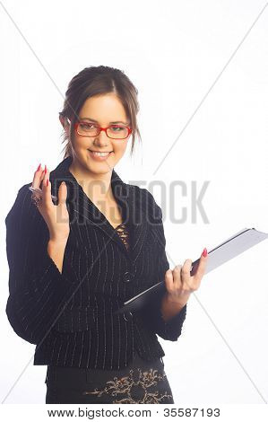 Satisfied businesswoman. Isolated over white.