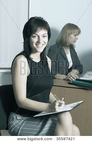 Portrait of a young executive businesswoman at her workplace.