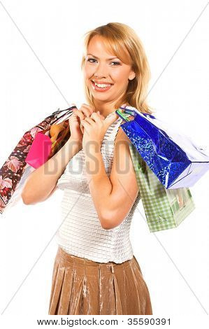 happy girl with shopping bags