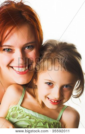 happy mother and her little daughter