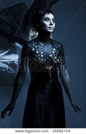 beautiful gothic girl, body-art