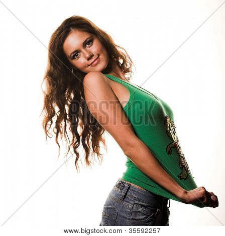 picture of lovely girl in blue jeans and green  shirt
