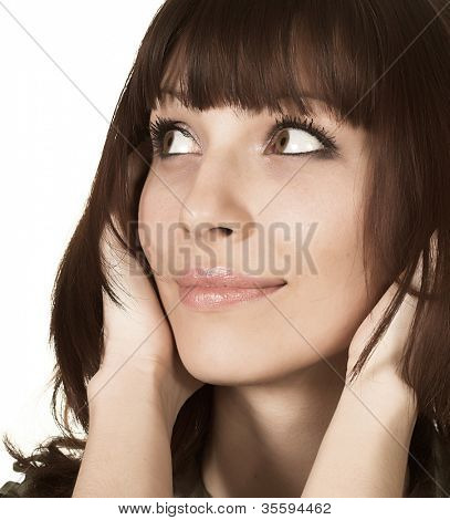 Portrait of Fresh and Beautiful brunette woman on white background