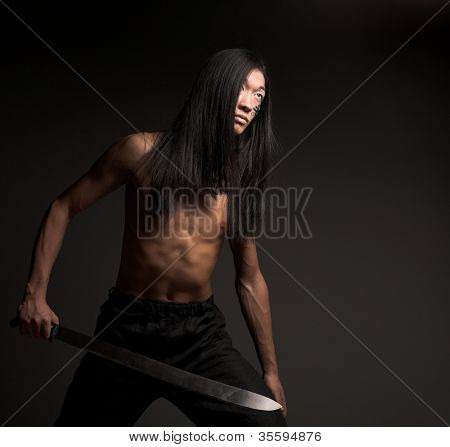 asian man with katana