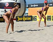HERMOSA BEACH, CA - JULY 21: Jenny Kropp and Whitney Pavlik compete in the Jose Cuervo Pro Beach Vol