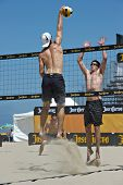 HERMOSA BEACH, CA - JULY 21: Mark Williams and Sean Scott  compete in the Jose Cuervo Pro Beach Voll