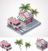 pic of ice-cream truck  - Vector isometric ice cream store and truck - JPG