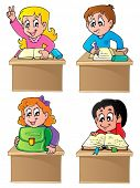 School pupils theme image 1 - vector illustration.