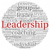 Leadership concept in word tag cloud on white background