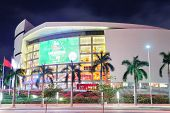 MIAMI, FL - FEB 7: American Airlines Arena at night on February 7, 2012 in Miami, Florida. It is hom