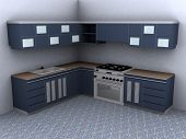 picture of minimalis  - Kitchen set that can use at the corner built from wood and glass with blue colored - JPG