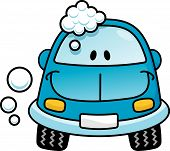 pic of car wash  - A happy blue cartoon car washing with soap bubbles - JPG